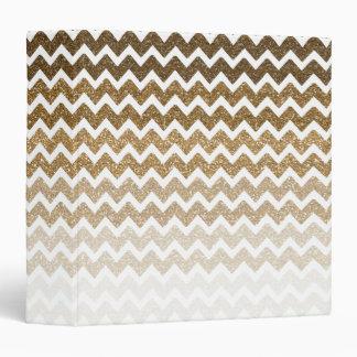 Gold Faux Glitter Chevron Ombre Vinyl Binder