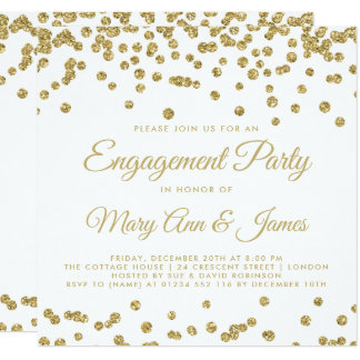 Gold Faux Glitter Confetti Engagement Party White Card