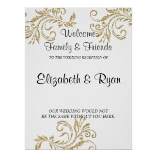 Gold, Faux Glitter, Custom Wedding Welcome Poster