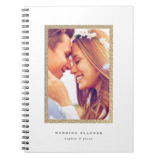 Gold faux glitter frame wedding planning notebook