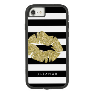 Gold Faux Glitter Kiss Personalized Case-Mate Tough Extreme iPhone 8/7 Case