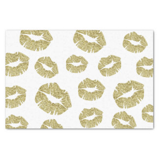 Gold Faux Glitter Kisses Tissue Paper
