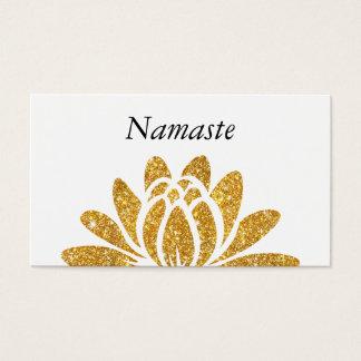 Gold Faux Glitter Lotus Flower Modern Namaste Business Card