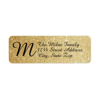 Gold Faux Glitter Monogram Address Labels