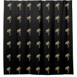 Gold Faux Glitter Palm Trees Black Shower Curtain