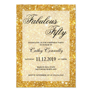Gold Faux Glitter Pattern Fabulous Fifty Card