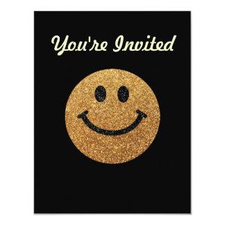 "Gold faux glitter smiley face 4.25"" x 5.5"" invitation card"