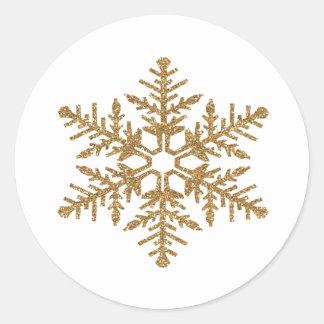 Gold Faux Glitter Snowflake Classic Round Sticker