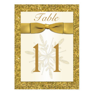 Gold FAUX Glitter Snowflake Table Number Card Postcard