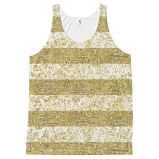 Gold Faux Glitter Stripes All-Over-Print Tank Top