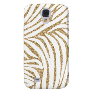 Gold Faux Glitter Zebra Print