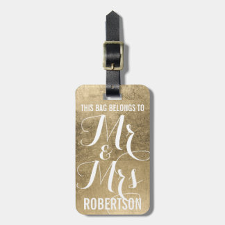 Gold faux leaf pattern personalized mr+and+mrs luggage tag