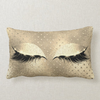 Gold Faux  Sepia Beauty Black Glitter Makeup Lumbar Pillow
