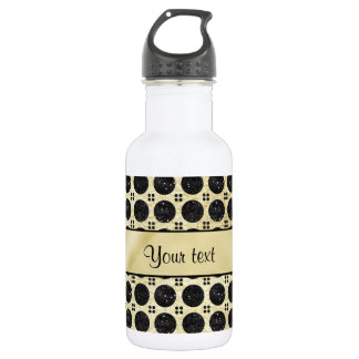 Gold Faux & Sparkly Black Glitter Spots 532 Ml Water Bottle