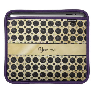 Gold Faux & Sparkly Black Glitter Spots iPad Sleeves
