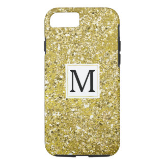 Gold Faux Sparkly Glitter Monogram iPhone 8/7 Case