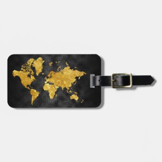 Gold Faux World Map Professional Black Metal Luggage Tag