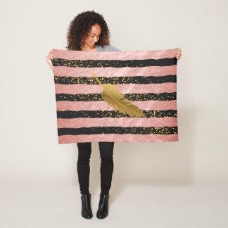 Gold Feather on Rose Gold Stripes Fleece Blanket