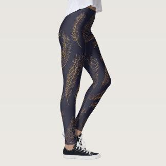 Gold Feather Print Leggings