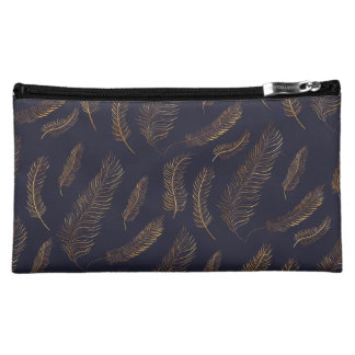 Gold Feather Print Makeup Bag