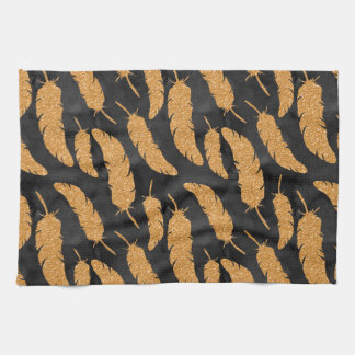 Gold Feathers Kitchen Towel