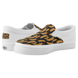 Gold Feathers Slip-On Sneakers
