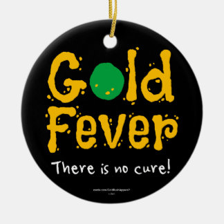 Gold Fever Round Ceramic Ornament