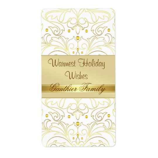 Gold Filigree Damask Holiday Wine Label