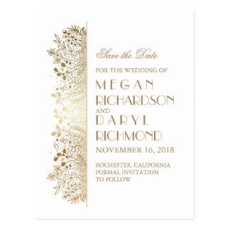 Gold Filigree Elegant Floral Save the Date Postcard