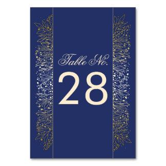 Gold Filigree Navy Wedding Table Number