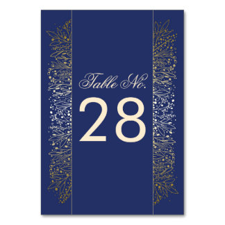 Gold Filigree Navy Wedding Table Number Table Card
