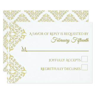 Gold Filigree RSVP card