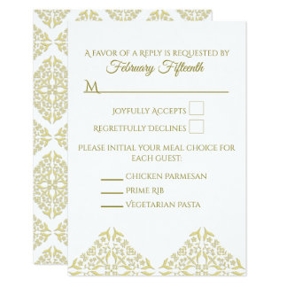 Gold Filigree RSVP card Vertical
