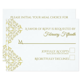 Gold Filigree RSVP card with Meal Choice on Back