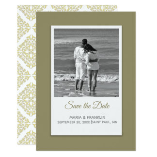 Gold Filigree Save the Date Card