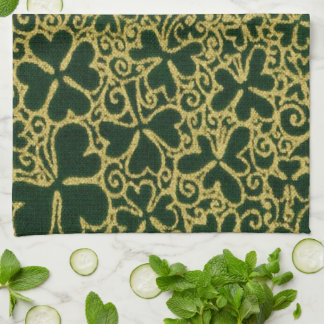 Gold Filigree Shamrocks Kitchen Towel