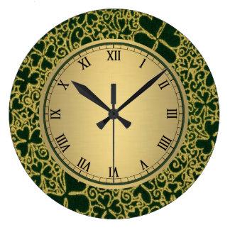 Gold Filigree Shamrocks Large Clock