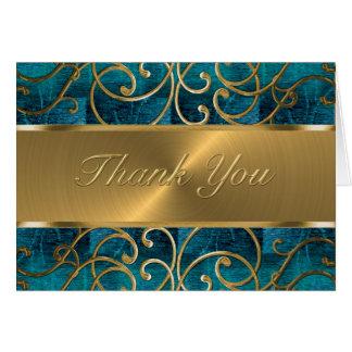 Gold Filigree Swirls Thank You Card