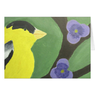 Gold Finch with Violets Greeting Card