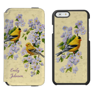 Gold Finches & Apple Blossoms Yellow Incipio Watson™ iPhone 6 Wallet Case