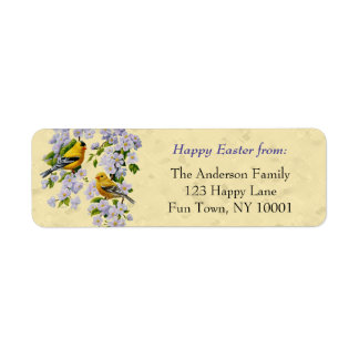 Gold Finches & Apple Blossoms Yellow Return Address Label