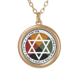 Gold Finish Golden Dawn Earth Pentacle Chain Gold Plated Necklace