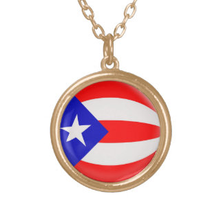 Gold finish Necklace Puerto Rico flag