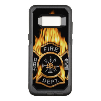 Gold Fire Department Flaming Badge OtterBox Commuter Samsung Galaxy S8 Case