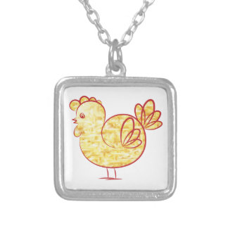 Gold fire Rooster. Silver Plated Necklace