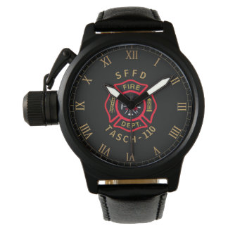 Gold Firefighter Badge Personalized Watch