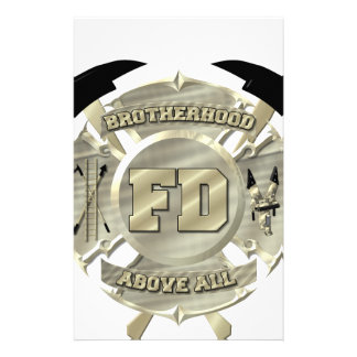 Gold Firefighter Brotherhood Symbol Personalized Stationery