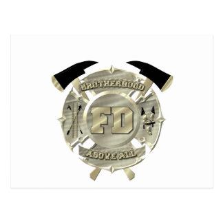 Gold Firefighter Brotherhood Symbol Postcard