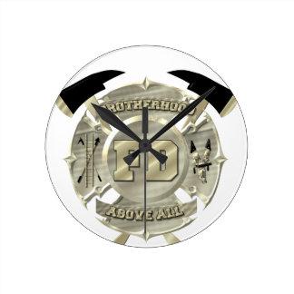 Gold Firefighter Brotherhood Symbol Wallclock