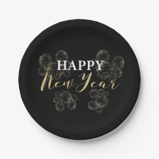 Gold Fireworks Happy New Year Paper Plate 7 Inch Paper Plate